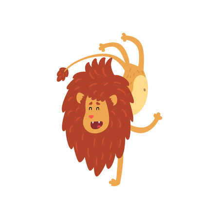 Cute lion cub cartoon character doing handstand vector Illustration on a white background