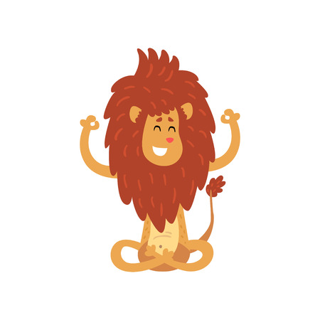 Cute lion cub cartoon character meditating in lotus position vector Illustration on a white background