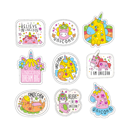 Lovely unicorn patches set, trendy colorful unicorn stickers in different actions vector Illustrations on a white background Illustration
