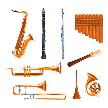 Musical wind instruments set, saxophone, clarinet, trumpet, trombone, tuba, pan flute vector Illustrations i on a white background Imagens - 96154849