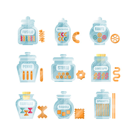 Glass jars filled with dry farfalle pasta set, different types and shapes of italian pasta with names vector Illustrations on a white background