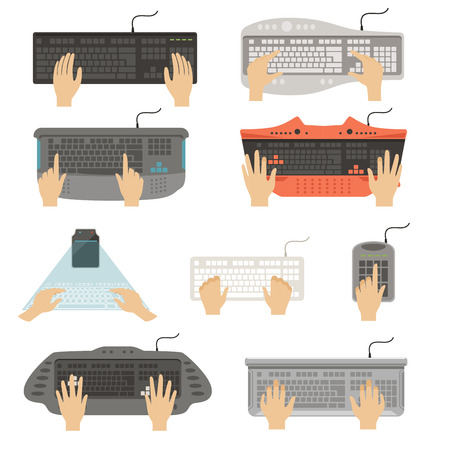 Hands typing on keyboard set, different types of computer console top view vector Illustrations on a white background