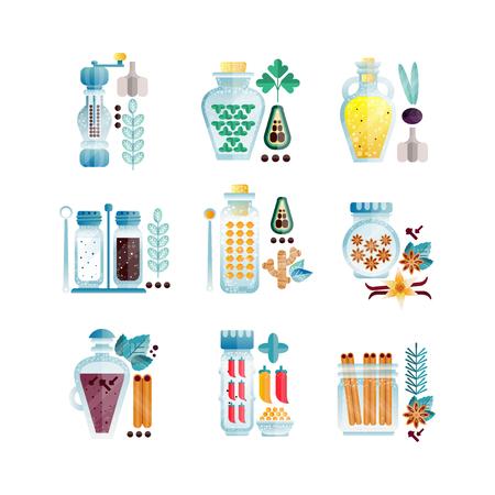 Herbs and spices jars set, different culinary condiments vector Illustrations Illusztráció