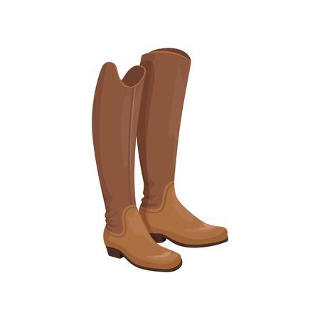 Brown leather horseman boots, equestrian professional sport element vector Illustration Vettoriali
