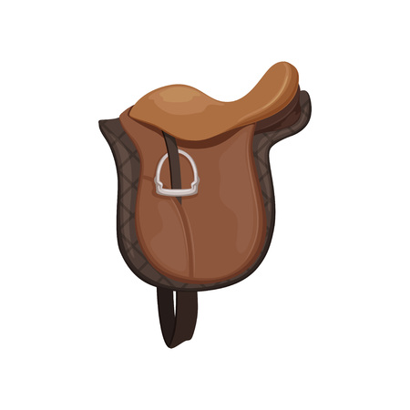 English saddle, brown leather, equestrian professional sport equipment vector Illustration Çizim