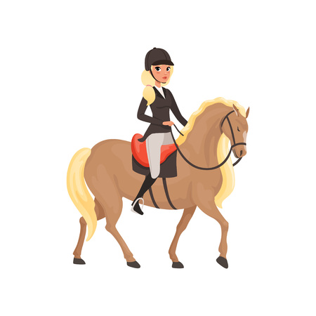 Jockey girl riding horse, equestrian professional sport vector Illustration Иллюстрация