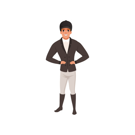 Jockey man in black costume, equestrian professional sport vector Illustration