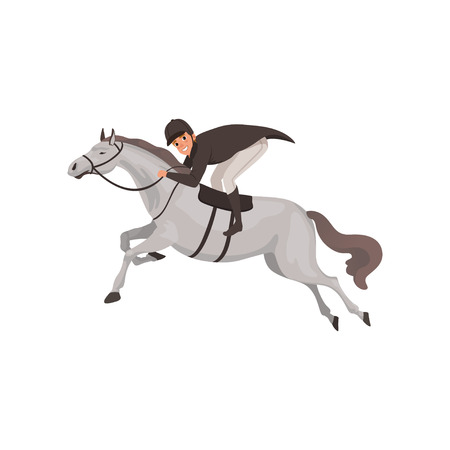 Jockey man riding horse, equestrian professional sport vector Illustration
