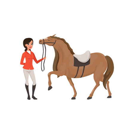 Jockey girl and thoroughbred horse, equestrian professional sport vector Illustration Ilustração