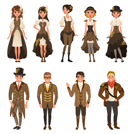 People dressed in historic clothes, man and woman wearing brown fantasy costume set vector Illustrations on a white background