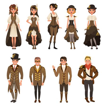 Ludzie ubrani w historyczne stroje, mężczyzna i kobieta w brązowym kostiumie fantasy zestaw ilustracji wektorowych na białym tle