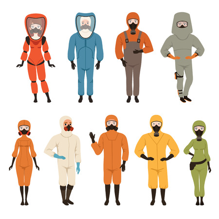 Protective suits set, different protective uniform equipment vector Illustrations isolated on a white background Vettoriali
