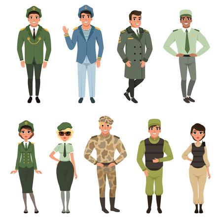 Set di uniformi militari, ufficiale dell'esercito militare, comandante, soldato, pilota, soldato, capitano della marina illustrazioni vettoriali su sfondo bianco