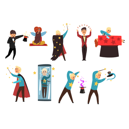 Magician showing tricks and focuses set of vector Illustrations isolated on a white background Illusztráció