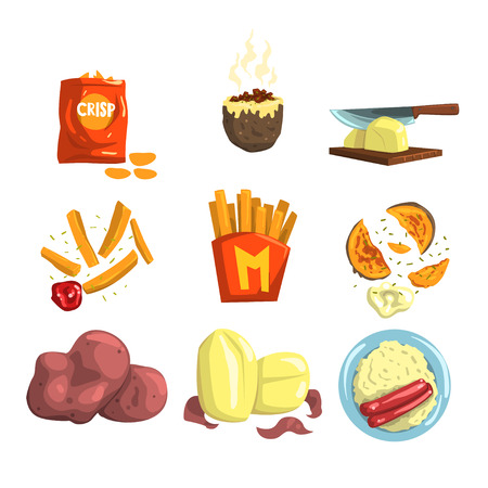 Potato food dishes set, snacks and cooked potato products vector Illustrations