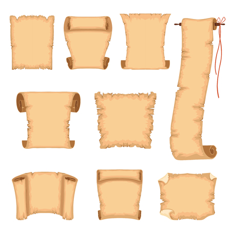 Ancient paper scrolls set, ancient parchments vector Illustrations on a white background Vectores