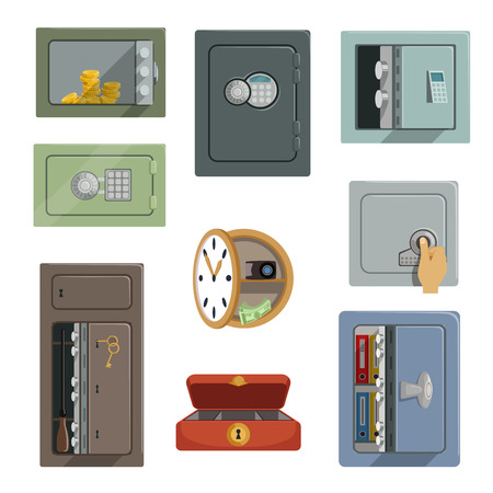 Different types of safes set, property security concept vector Illustrations isolated on a white background