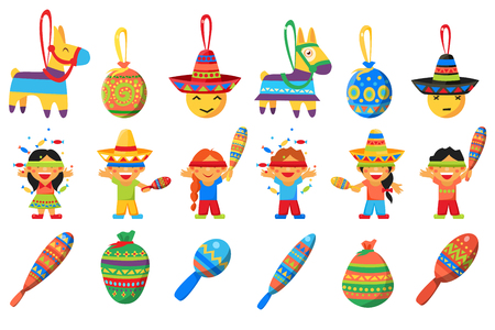 Pinata, elements for Mexican party, children breaking traditional donkey shaped Pinata vector Illustrations on a white background