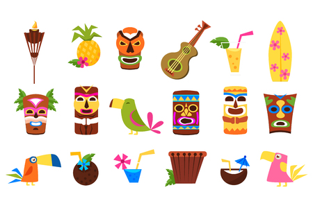 Set di simboli delle Hawaii, maschere tribali Tiki, cocktail tropicali, frutta, uccelli e strumenti musicali illustrazioni vettoriali su sfondo bianco Archivio Fotografico - 96079284