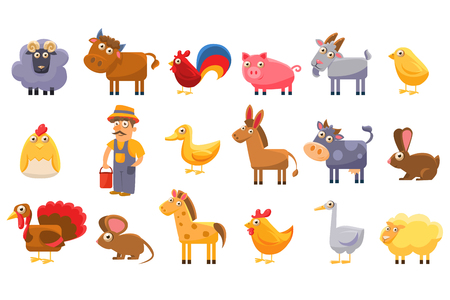 A Farm animals set, male farmer, livestock and pets cartoon vector Illustrations on a white background Illustration