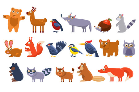 Wild forest animals set, cute cartoon bear, bird, hedgehog, wolf, raccoon, elk, deer, rabbit, squirrel, tit, woodpecker, owl, mole, wild boar, beaver, fox vector Illustrations