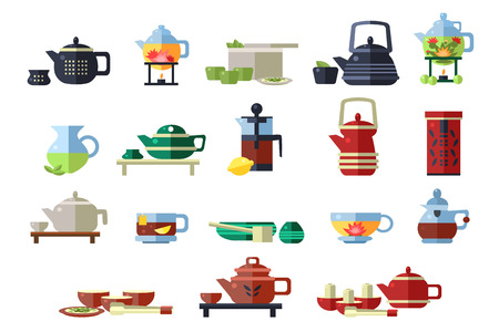 Teapots set, tea ceremony tools vector Illustrations on a white background