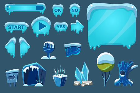A Buttons with snow set, game user interface with control and landscape elements vector Illustrations for apps, web