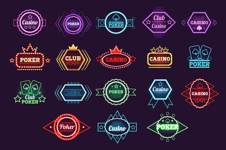 Poker club and casino emblem set, neon light gambling sign vector Illustrations Vectores