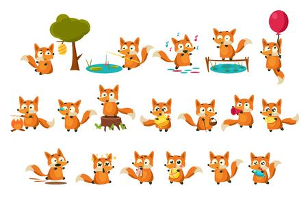 Ładny charakter lisiątka robi różne czynności zestaw, zabawne zwierzę leśne w różnych sytuacjach ilustracje wektorowe na białym tle