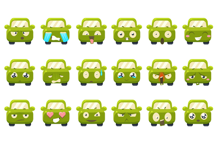 Cute green car cartoon characters showing different emotions sett, funny emoji for site, video, animation, websites, infographics, messages, comics, newsletters, vector Illustrations isolated on a white background.