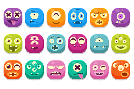 Set of colorful monster emoticons.  イラスト・ベクター素材