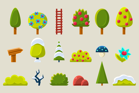 Trees and plants in different seasons set isolated on a white background.