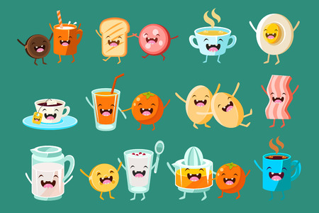 Funny breakfast food comic characters set on a jade green background.