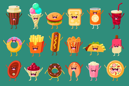 Funny fast food comic characters set on a jade green background.