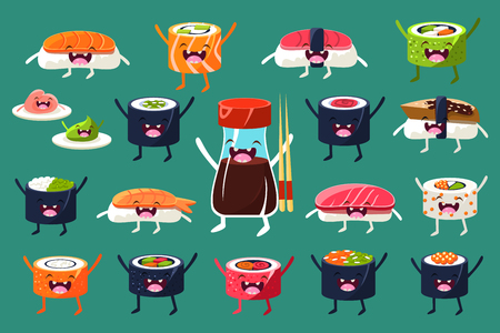 Set of sushi and rolls characters with funny faces illustration Illustration
