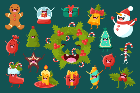 Set of christmas comic decoration elements with funny faces illustration.