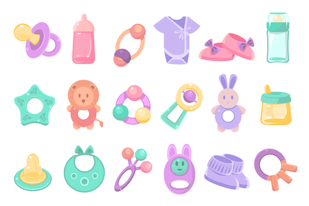 Set of toys and accessories for baby. Ilustracja