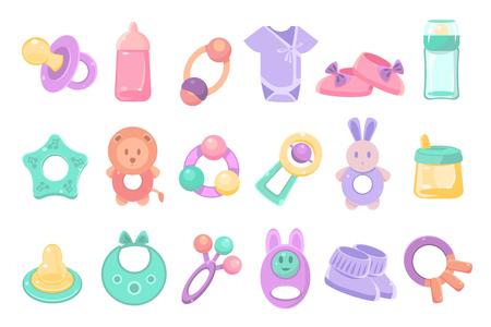 Set of toys and accessories for baby. Ilustração