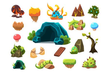 Set of fantasy landscape element icons. Stock Illustratie