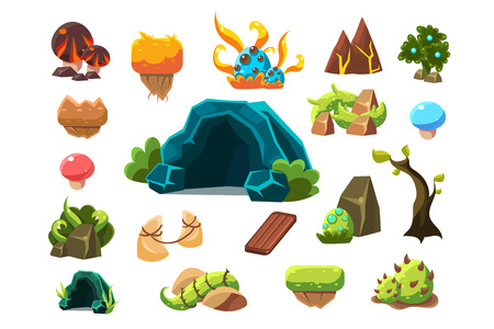 Set of fantasy landscape element icons. Illustration