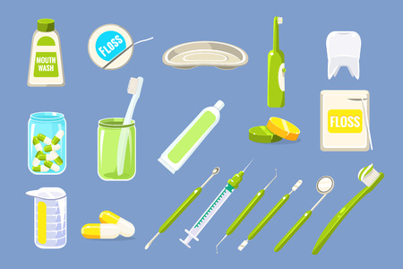 Set of dental care equipments. Ilustrace