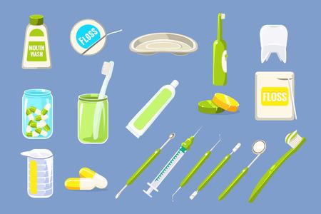 Set of dental care equipments. Illustration