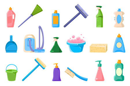 Set of cleaning tool icons.