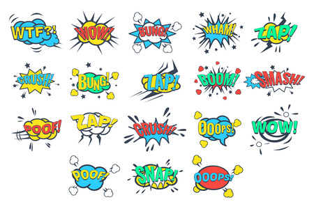 Set of comic bubbles with words and abbreviations Illustration