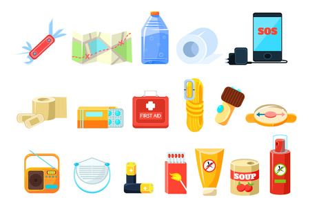 Set of travel essential icons.