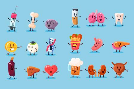 Zestaw złych nawyków i ilustracji postaci niezdrowych narządów ludzkich.