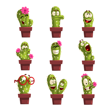 Set of potted cactus characters with different emotion.