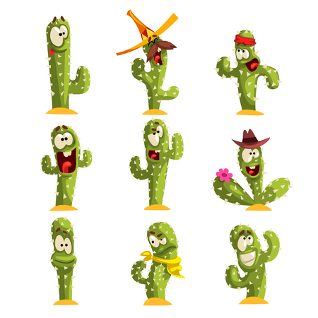 Set of cute cactus with different emotions