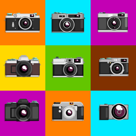 Set of camera icons on colored background. Stock Illustratie