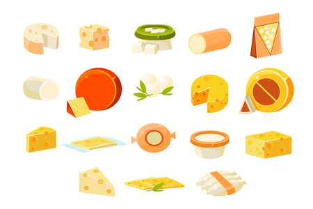 Collection of cheesets, pieces of popular kinds of cheeset vector Illustrations isolated on a white background.